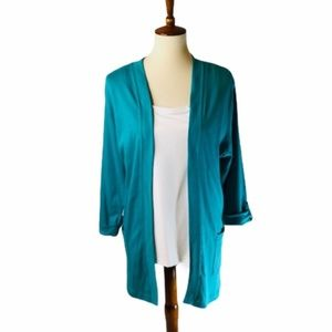 Croft & Barrow Turquoise Open-Front Cardigan NWT
